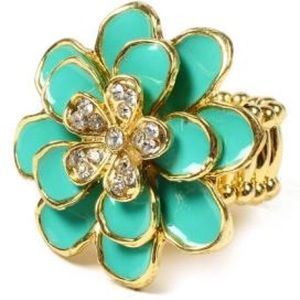 Floral Ring with Austrian Crystals